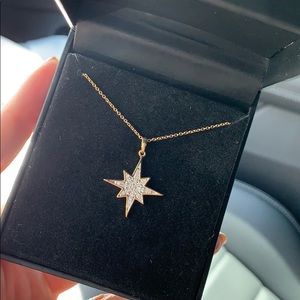 NEW Diamond Cluster Starburst Pendant Necklace
